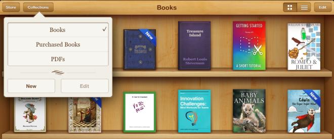 Creating New Shelves in iBooks