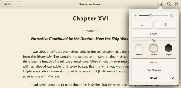 Changing fonts and themes in iBooks