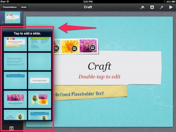 Adding new slides in Keynote iPad