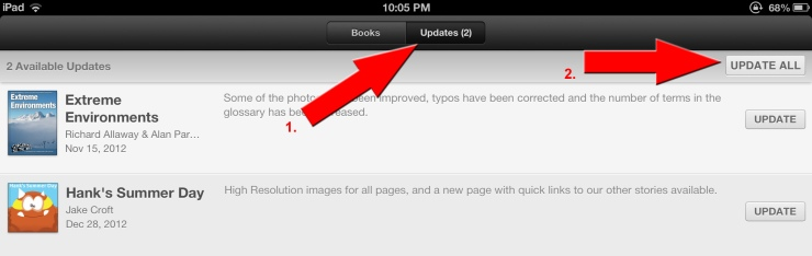 Updating iBooks in the iBooks Store
