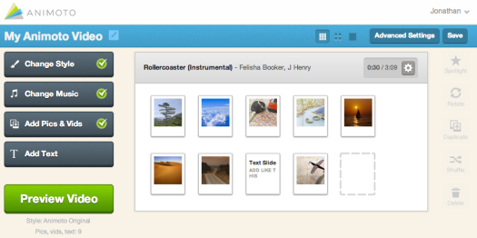 Animoto video editor