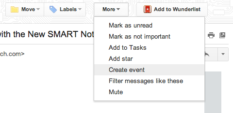 Create an event from Gmail