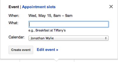Click and drag a calendar event