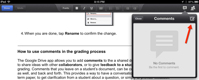 Add Comments Google Drive iPad App