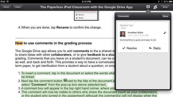 Google Drive iPad Comments