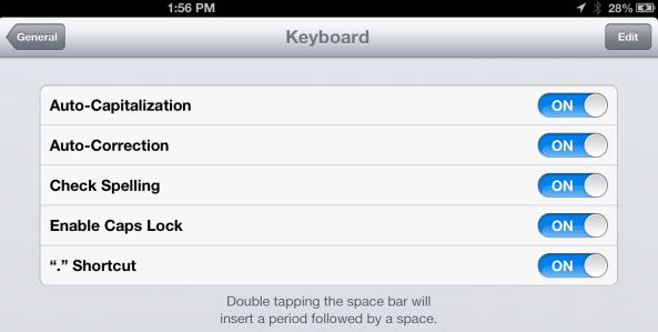 autocorrect options ipad