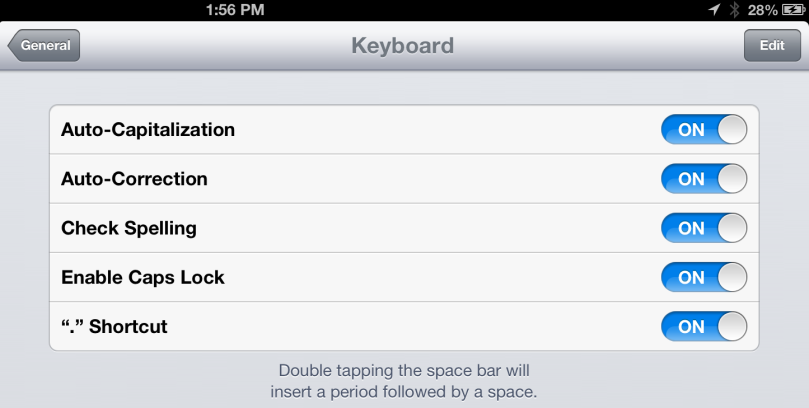 autocorrect options ipad