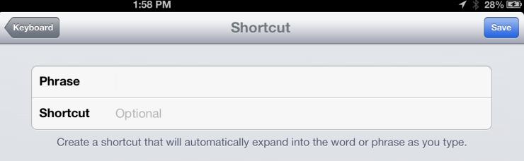 keyboard shortcuts ipad