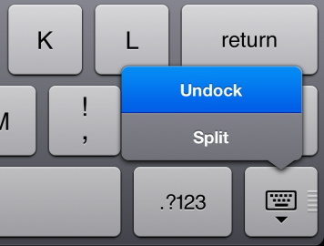 undock split ipad keyboard