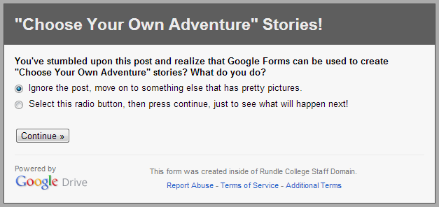 Choose Your Own Adventure Google Form