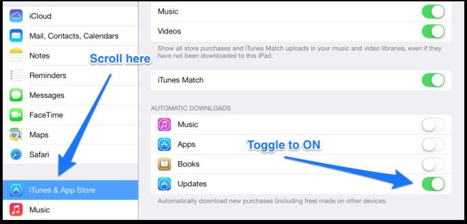auto app updates in iOS 7