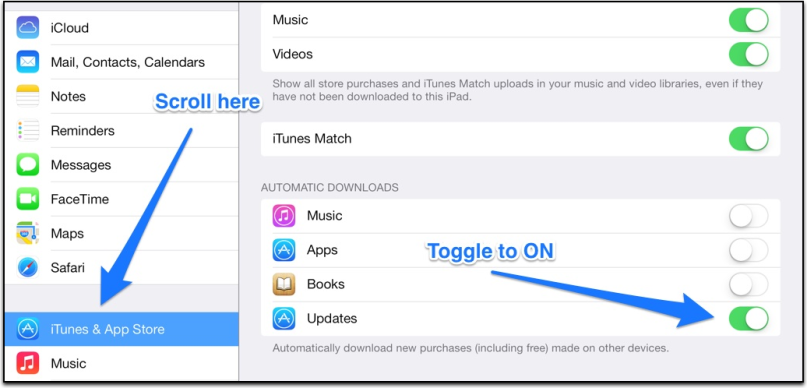 auto app updates in iOS 7
