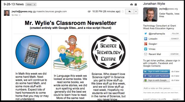 gmail classroom newsletter