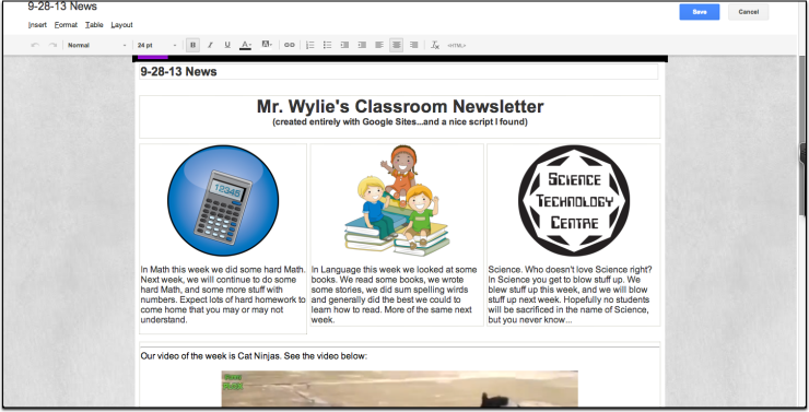 Google Sites Newsletter