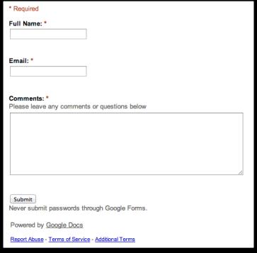 Google Sites Contact Form