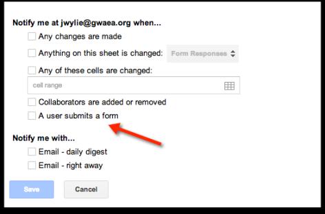 notification settings google spreadhseet