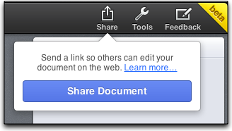 share a document in iWork
