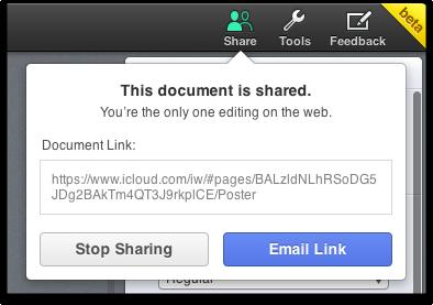 stop sharing iwork document