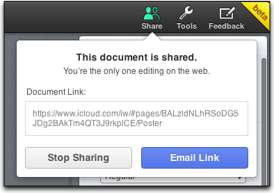 stop sharing iwork document