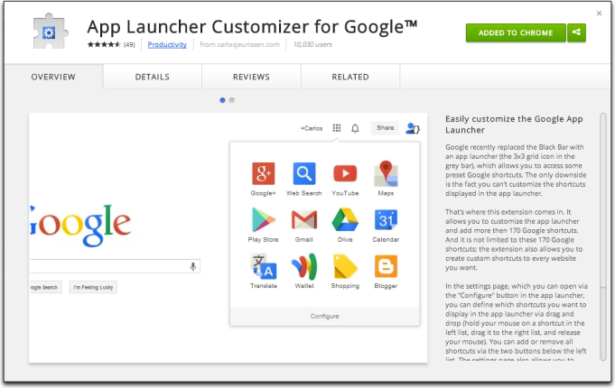 App Launcher Customizer for Google