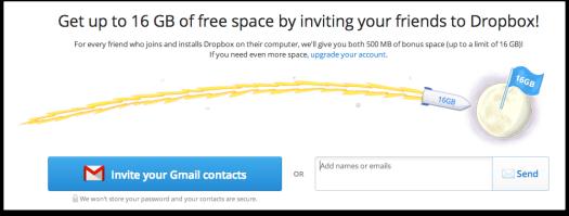 dropbox free space