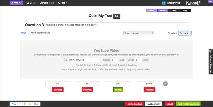 kahoot edit quiz