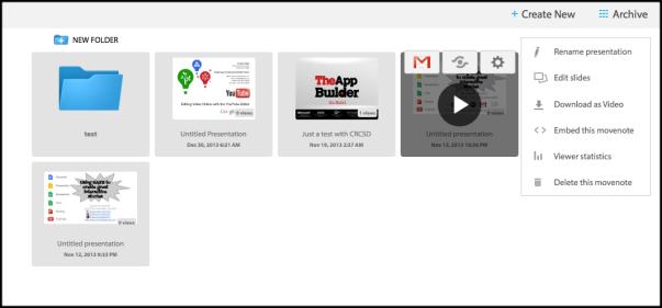 movenote archive screen