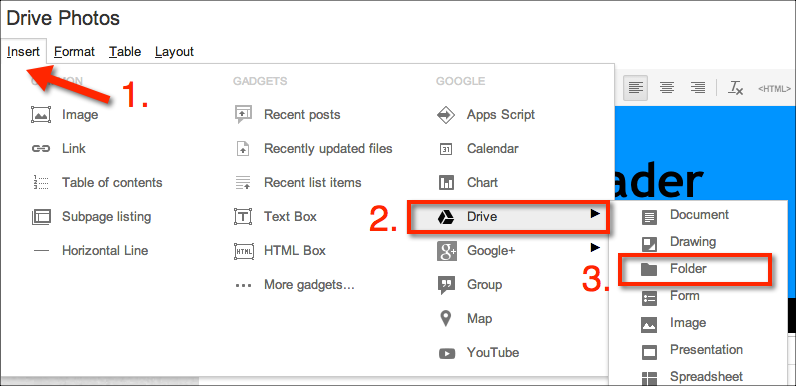 insert folder in google sites