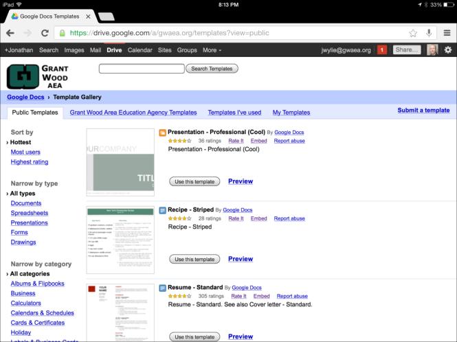 Access the Google Drive Template Gallery on an iPad | Jonathan Wylie ...
