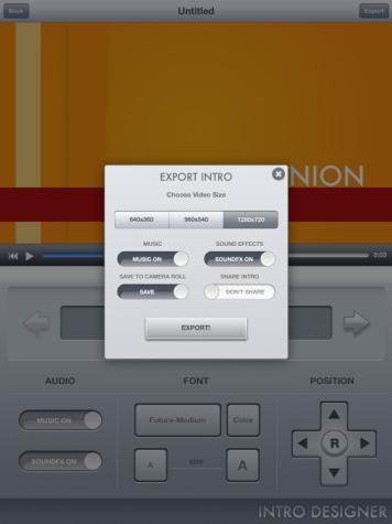 Export Options for Intro Designer Lite