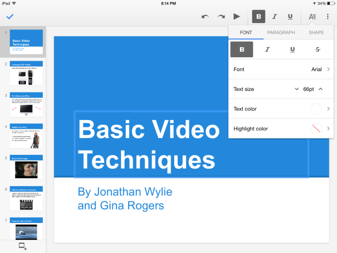 Google Slides for iPad