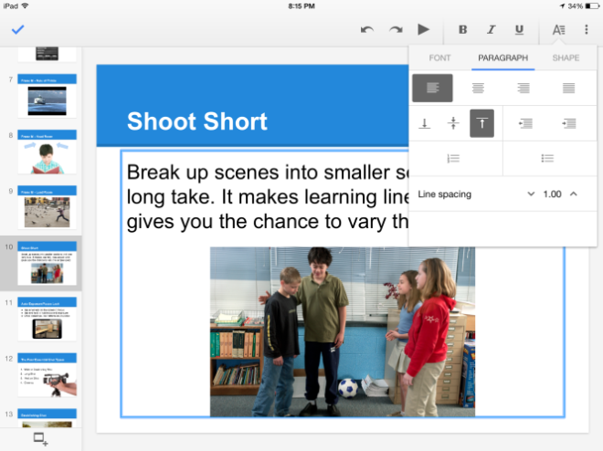 Google Slides iPad Formatting Options