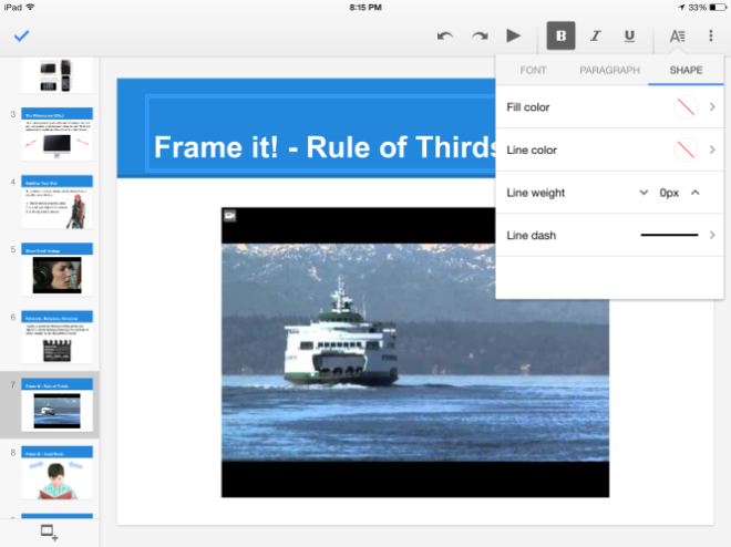 Format Text boxes and lines in Google Slides for iPad