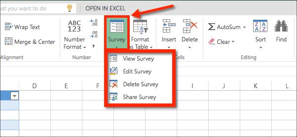 view, edit, survey