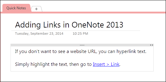 hyperlink text in onenote