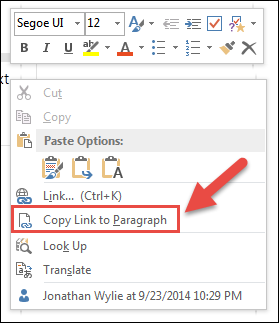 Link to a paragraph in onenote 2013