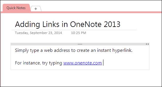 type links in onenote