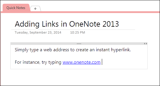 type links in onenote