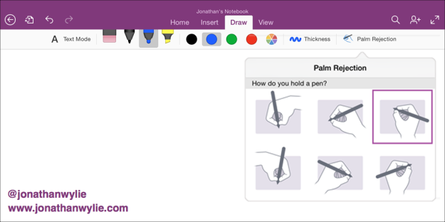 palm rejection onenote ipad