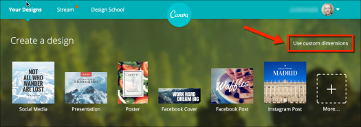 use custom dimensions canva