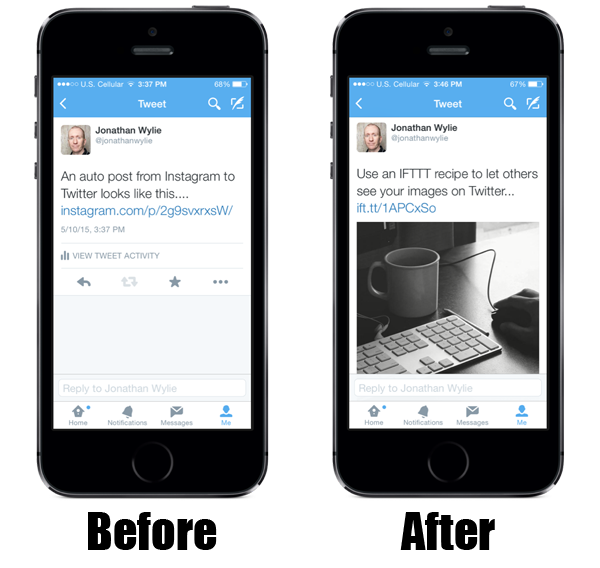 Before and After Instragram Tweet