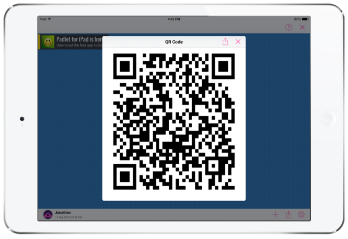 Sharing a Padlet board on the iPad with a QR code