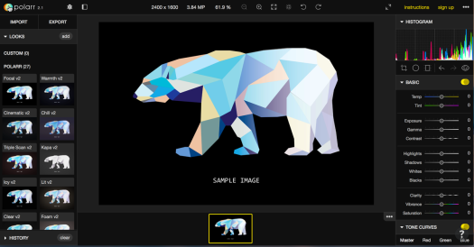 polarr editor interface