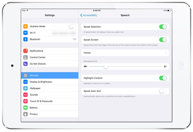 iPad Text to Speech Settings