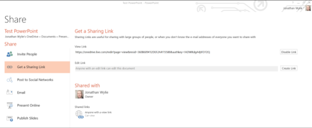 sharing link for powerpoint