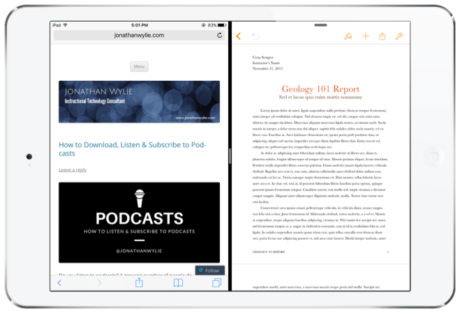 Split View on the iPad