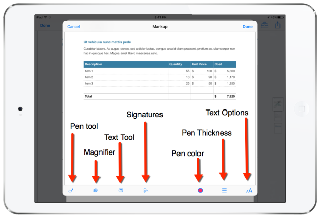 pdf markup tools mail ios