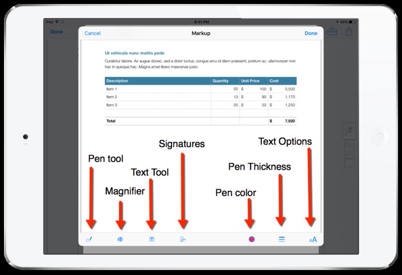 pdf markup tools mail ios