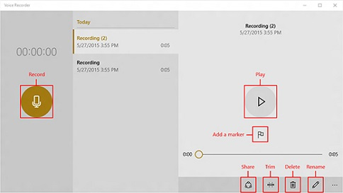 Windows 10 Voice Recorder
