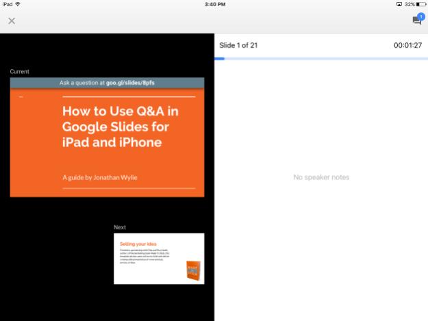 Presenter View Google Slides iPad
